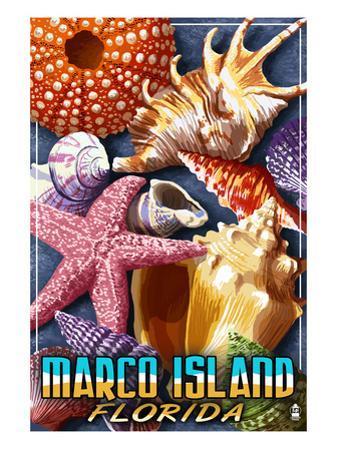 Marco Island, Florida - Shells Montage by Lantern Press