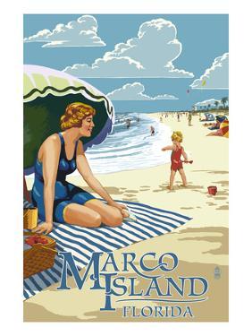 Marco Island, Florida - Woman on Beach by Lantern Press