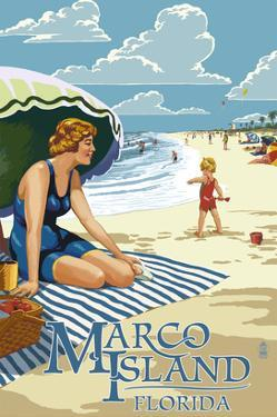 Marco Island, Florida - Woman on Beach by Lantern Press