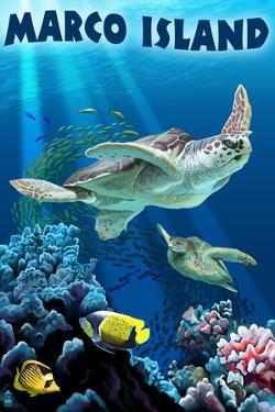 Marco Island - Sea Turtles Swimming by Lantern Press