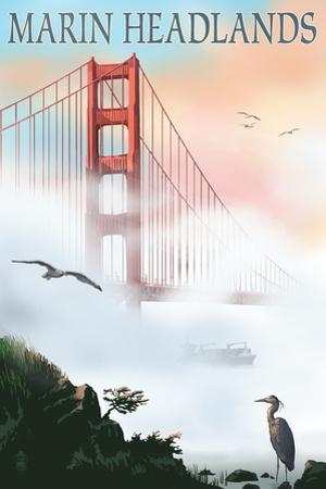 Marin Headlands - Golden Gate Bridge in Fog by Lantern Press