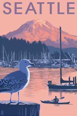 Marina and Rainier at Sunset - Seattle, Washington by Lantern Press