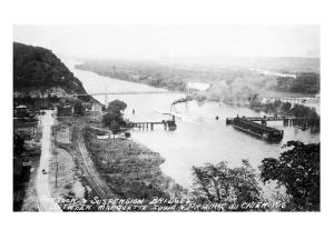 Marquette, Iowa - View of Mississippi Suspension Bridge, Prairie du Chien by Lantern Press