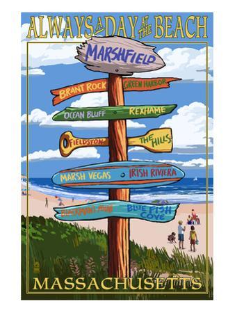 Marshfield, Massachusetts - Sign Destinations by Lantern Press