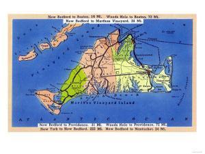 Martha's Vineyard Island, Massachusetts - Detailed Map of the Island by Lantern Press