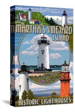 Martha's Vineyard - Lighthouses Montage by Lantern Press