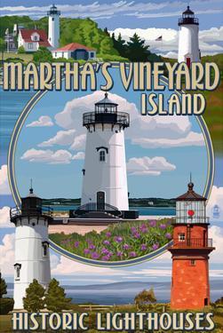 Martha's Vineyard - Lighthouses Montage by Lantern Press
