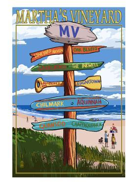 Martha's Vineyard, Massachusetts - Destination Sign by Lantern Press