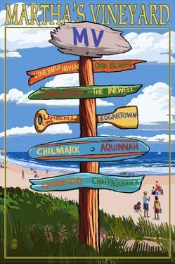 Martha's Vineyard, Massachusetts - Destination Sign by Lantern Press