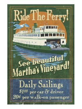 Martha's Vineyard, Massachusetts - Ferry Ride by Lantern Press