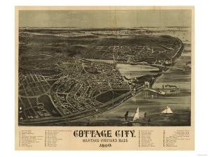 Martha's Vineyard, Massachusetts - Panoramic Map by Lantern Press