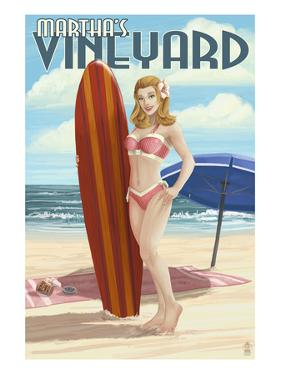 Martha's Vineyard, Massachusetts - Pinup Girl Surfer by Lantern Press