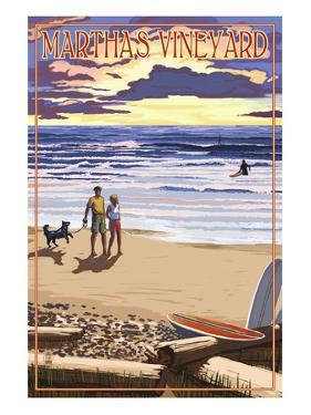 Martha's Vineyard, Massachusetts - Sunset and Beach Scene by Lantern Press