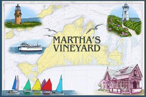 Martha's Vineyard - Nautical Chart by Lantern Press