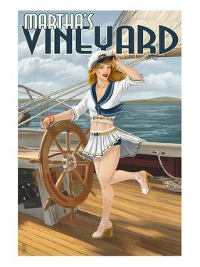 Martha's Vineyard - Sailing Pinup Girl by Lantern Press