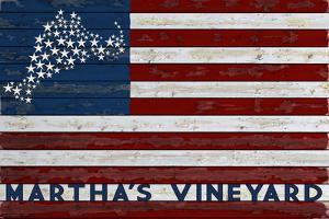 Martha's Vineyard - USA Flag and Stars by Lantern Press