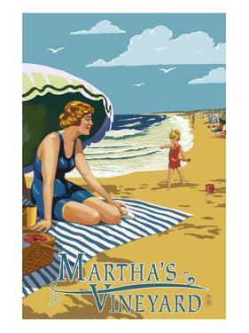 Martha's Vineyard - Woman on Beach by Lantern Press