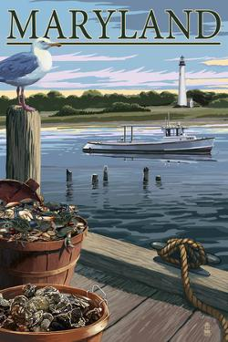 Maryland - Blue Crab and Oysters on Dock by Lantern Press