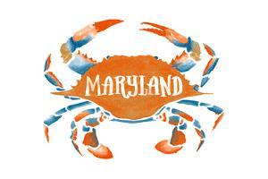 Maryland - Blue Crab - Blue and Orange Watercolor (#2) by Lantern Press