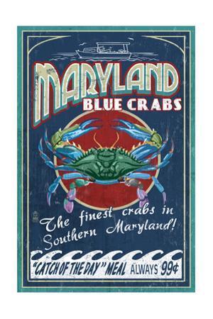 Maryland - Blue Crabs Vintage Sign (#2)