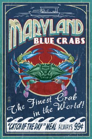 Maryland - Blue Crabs Vintage Sign by Lantern Press