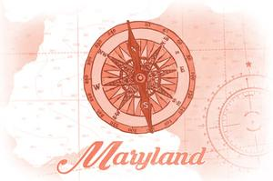Maryland - Compass - Coral - Coastal Icon by Lantern Press