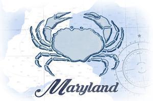 Maryland - Crab - Blue - Coastal Icon by Lantern Press