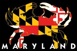 Maryland - Crab Flag (Black with White Text) by Lantern Press