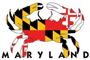 Maryland - Crab Flag (White with Black Text) by Lantern Press