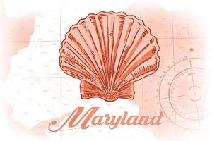 Maryland - Scallop Shell - Coral - Coastal Icon by Lantern Press