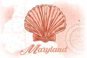 Maryland - Scallop Shell - Coral - Coastal Icon by Lantern Press