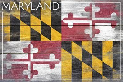 Maryland State Flag - Barnwood Painting by Lantern Press