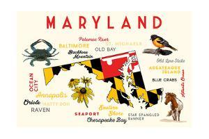 Maryland - Typography and Icons with Black Eyed Susans by Lantern Press