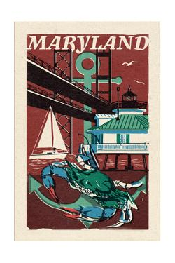 Maryland - Woodblock by Lantern Press
