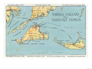 Massachusetts - Detailed Map of Martha's Vineyard and Nantucket Islands by Lantern Press