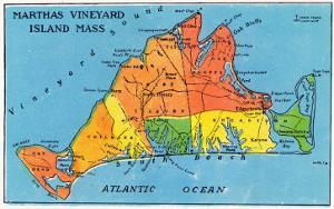 Massachusetts, Map of Entire Martha's Vineyard Island by Lantern Press