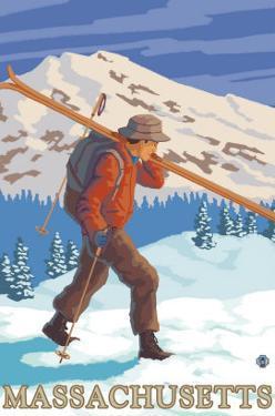Massachusetts - Skier Carrying Skis by Lantern Press