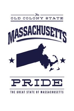 Massachusetts State Pride - Blue on White by Lantern Press