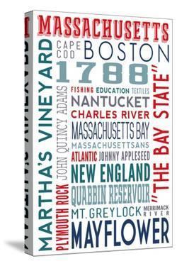 Massachusetts - Typography by Lantern Press