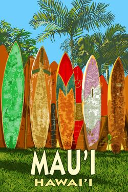 Mau'i, Hawai'i - Surfboard Fence by Lantern Press