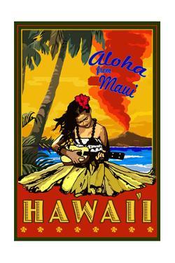 Maui, Hawaii - Hula Girl and Ukulele by Lantern Press