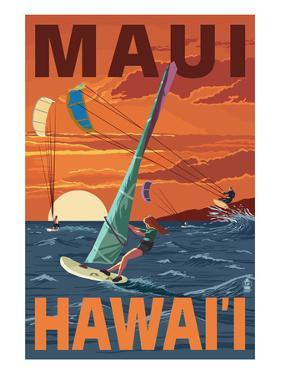 Maui, Hawaii - Windsurfers Scene at Sunset by Lantern Press