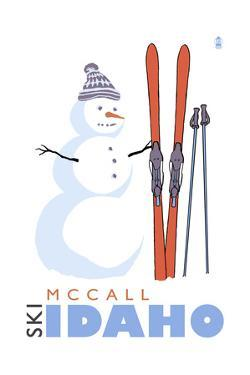McCall, Idaho - Snowman with Skis by Lantern Press