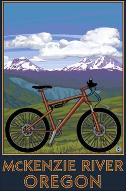 McKenzie River, Bicycle Scene by Lantern Press