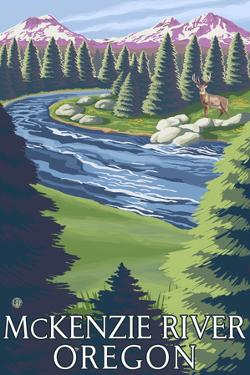 McKenzie River, Oregon - Buck and River by Lantern Press