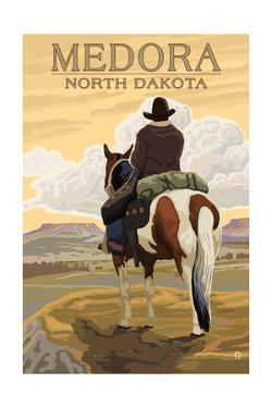 Medora, North Dakota - Cowboy on Ridge by Lantern Press