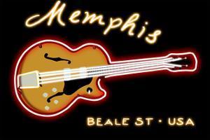 Memphis, Tennesse - Neon Guitar Sign by Lantern Press