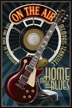 Memphis, Tennessee - Guitar and Microphone - Blue by Lantern Press