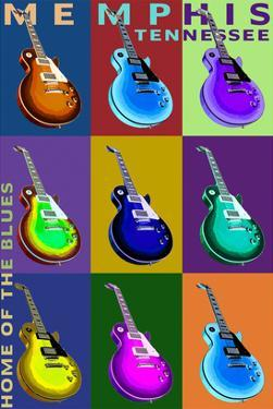 Memphis, Tennessee - Guitar Pop Art by Lantern Press