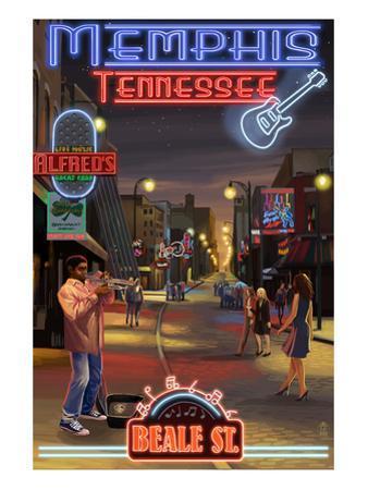 Memphis, Tennessee - Memphis at Night (Beale Street) by Lantern Press